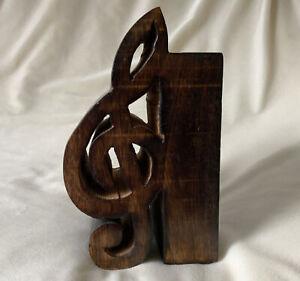 Single Bookend Wood Musical Treble Clef Music Theme Handmade Shelf Decor