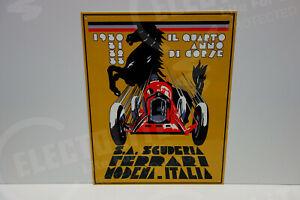 """Ferrari S. A. SCUDERIA Vintage Steel Enamel ART DECO . HUGE 20"""" HIGH by 16"""" WIDE"""