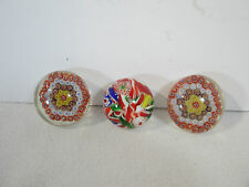 Glass Paperweights Millefiori Flowers Mixed Stripes Reds Vintage Mini Set of 3