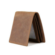 Men's Retro Genuine Leather Bifold Wallet Cards Photo Holder Purse Money Clip