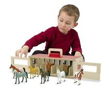 Show Horse Stable Play Set Barn 8 Horses Toys Kids Wooden Toddler Girls Boys New