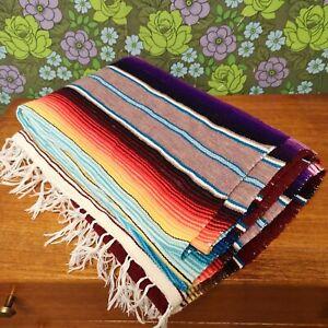 Mexican Rainbow Burgundy Red Woven Stripy Falsa Yoga Blanket / Throw