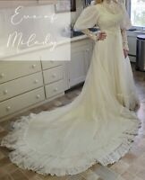 Vintage Eve of Milady Victorian Bohemian Wedding Dress Puff Sleeve Lace Size 6