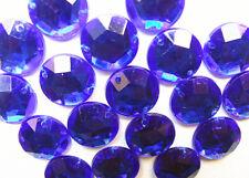 200 Blue Faceted Beads Acrylic Rhinestone Gems 10 mm Round Flatback 2 Hole SewOn