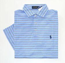 NWT Men's Ralph Lauren Short-Sleeve Jersey Polo Shirt, Blue, White, M, Medium