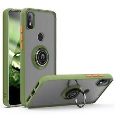 For T-Mobile REVVL 4/Plus/REVVL 5G Ring Case Magnetic Metal Kickstand Clear Back