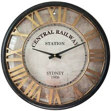ROUND CLOCK W/ GLASS FRONT CENTRAL RAILWAY STATION HANGING WALL ART DISPLAY