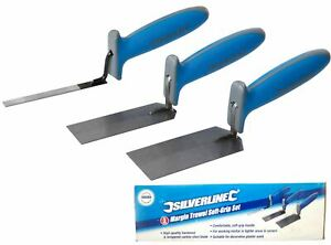 Silverline 3pc Margin Trowel Set Soft Grip Plasterers Corner Plastering Tools