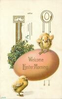 Easter Morning~Yellow Chicks on Huge Pink Egg~Gold Leaf Art Nouveau Emboss~1912