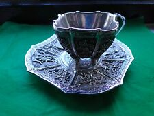 Chinese Tea Cup & Saucer, Sterling Silver, C-1860, Amazing Work, Rare, Beautiful
