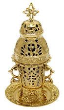 "Church incense burner high quality polished brass 9"" carved"