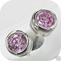 18k white gold gp made with swarovski crystal pink earrings stud 0.25ct 4mm