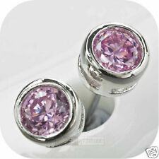 crystal pink earrings stud 0.25ct 4mm 18k white gold gp made with swarovski