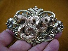 (B-SNAKE-102) Snake coiled wild snakes scrolled flower brass pin pendant brooch