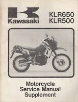 1987-1995 KAWASAKI MOTORCYCLE KLR650, KLR500 SERVICE MANUAL SUPPLEMENT (994)