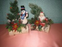 Vintage Red Flocked Santa Claus On Birch Yule Log and Snowman (Lot of 2)