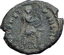 EUDOXIA Arcadius Wife 401AD Authentic Ancient Roman Coin VICTORY CHI-RHO i64804