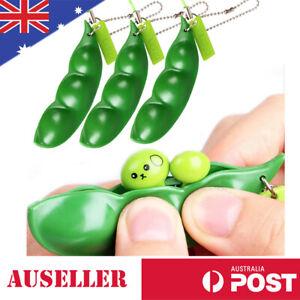Stress Relieve Cute Squishy Peas In A Pod Keychain Keyring Mochi Bean Fidget Toy