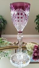 Vintage VAL ST LAMBERT Purple Cut to Clear Crystal Wine Water Goblet, w/Label