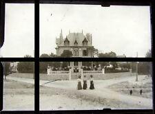 PLAQUE VERRE PHOTO NEGATIF 1910 VACANCES NORMANDIE HOTEL PARTICULIER HOUSE