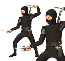 Childrens Black Ninja Fancy Dress Costume Samurai Warrior Outfit Childs Kids S