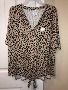 Time and Tru Cheetah Print Maternity Shirt with Front Tie Size Medium (8-10) NWT
