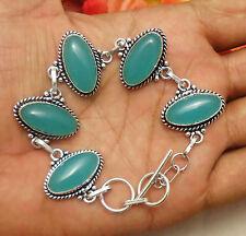 """Aqua Chalcedony Gemstone Bracelet 925 Silver Overlay Size 8"""" U183 A6"""