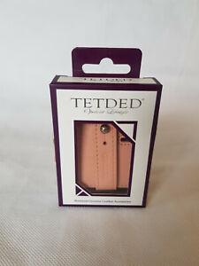 Genuine Leather Tetded Headphone Cable Organiser. Nude/Pink.