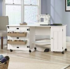 Table For Sewing Machine Craft Drop Leaf Shelves Storage Bins Cabinet White New