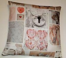 Hearts  Keys Cushion Cover - Pastel Shades Romance Pink
