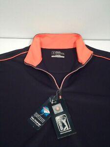 NEW PGA Tour Mens 1/4 Zip Pullover Size Small Navy Mock Orange Trim Top PEFK0142