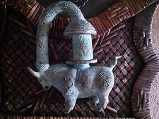 Antique Chinese Heavy Brass Incense Burner Censer- Bull Statue Palace Lantern