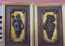 Antique French Black Florest Hand Carved Wood Cabinet Doors - Nymph Nude Woman