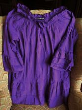Cha Cha Vente Purple Cotton Ruffled Tunic Top Rosette 3/4vSleeves XL NWT CHIC!