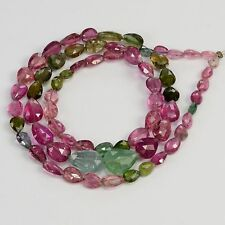 45CT Multi Tourmaline Faceted Center Drilled Heart Briolette Bead 16 inch strand