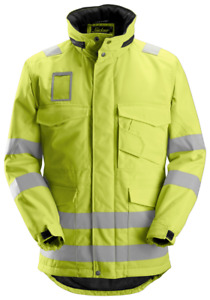 Snickers High-Vis Winter Long Jacket Class 3 - Yellow - Size Large