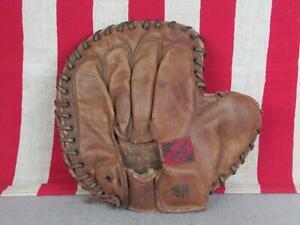 Vintage 1940s Rawlings Leather Baseball Glove Catchers/Basemans Mitt Crescent