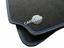 Für Audi A4 Avant 8D Fußmatten Velours anthrazit Deluxe Nubukband Absetzung blau