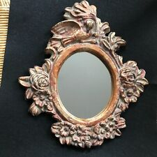 """11"""" x 10"""" Ornate Cast Iron Gold Painted Oval Mirror Bird & Flowers Rococo sweet"""