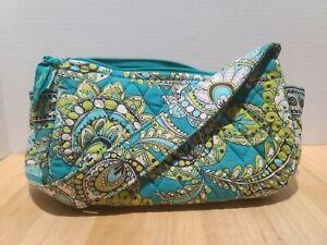 RETIRED Vera Bradley Small Hobo Shoulder Handbag, PEACOCK print Aqua/Lime