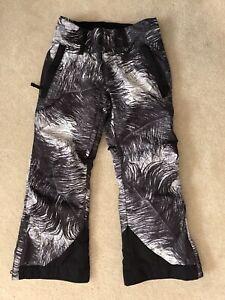 EUC! Girls Obermeyer Black/White Extended Wear Snow Pants Sz S(8)