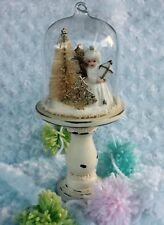 Christmas Snow globe angel ornament shabby chic miniature bottle brush tree