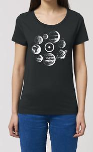 Ladies Organic Cotton TShirt SOLAR SYSTEM Astronomy Sun Moon Stars Space Science