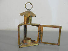 BRASS GLASS MINI MINIATURE HANGING HUNG CANDLE HOLDER LANTERN TRIANGLE SHAPE VTG