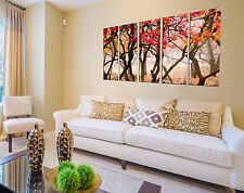 Autumn forest print on canvas, forest wall art tree paintings on canvas 5 panel