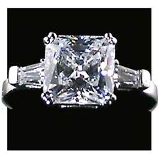 Square Radiant Cut Engagement Ring w/ Baguette Acents_Size-5_Nf_925 Silver