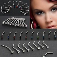 Thin Gem Surgical Steel Nostril Hoop Crystal Screw Stud Body Piercing Nose Ring