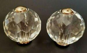 Pair Swarovski crystal w/chrome Bathroom Sink Spherical Faucet knobs