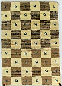 New handmade nomadic woolen rugs . Size: 2.55 x 3.67 ft - 112 x 78 cm