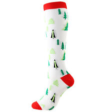 LE Fancy Christmas Stockings Knee High Fuzzy Socks Holiday Fun Colorful White